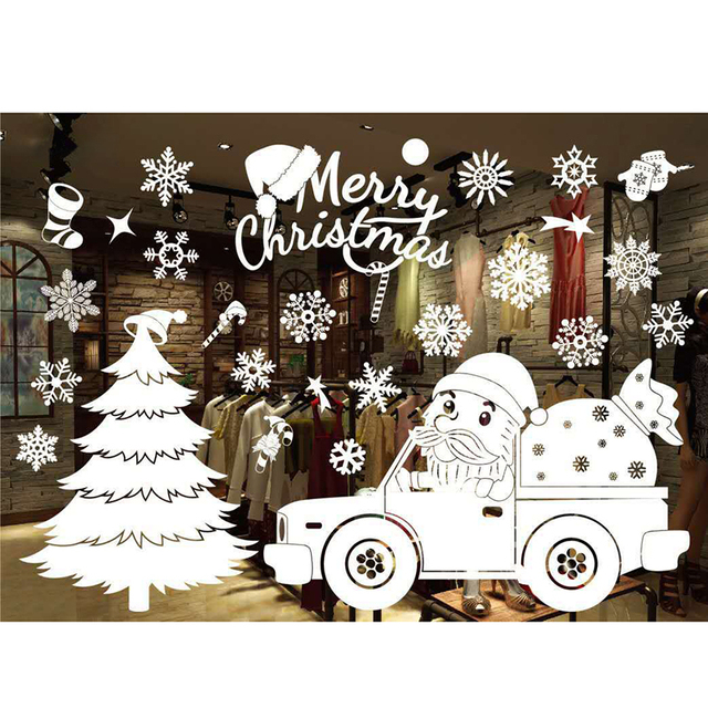 55*38cm Christmas Wall Stickers Christmas Tree Snowman Antelope ...