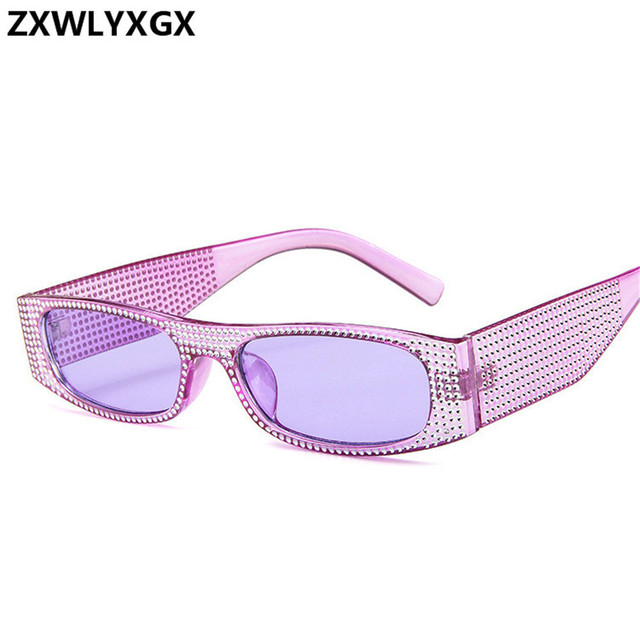 ZXWLYXGX Small square sunglasses women imitation diamond sung lasses Retro evening glasses cross fashion sunglasses UV400