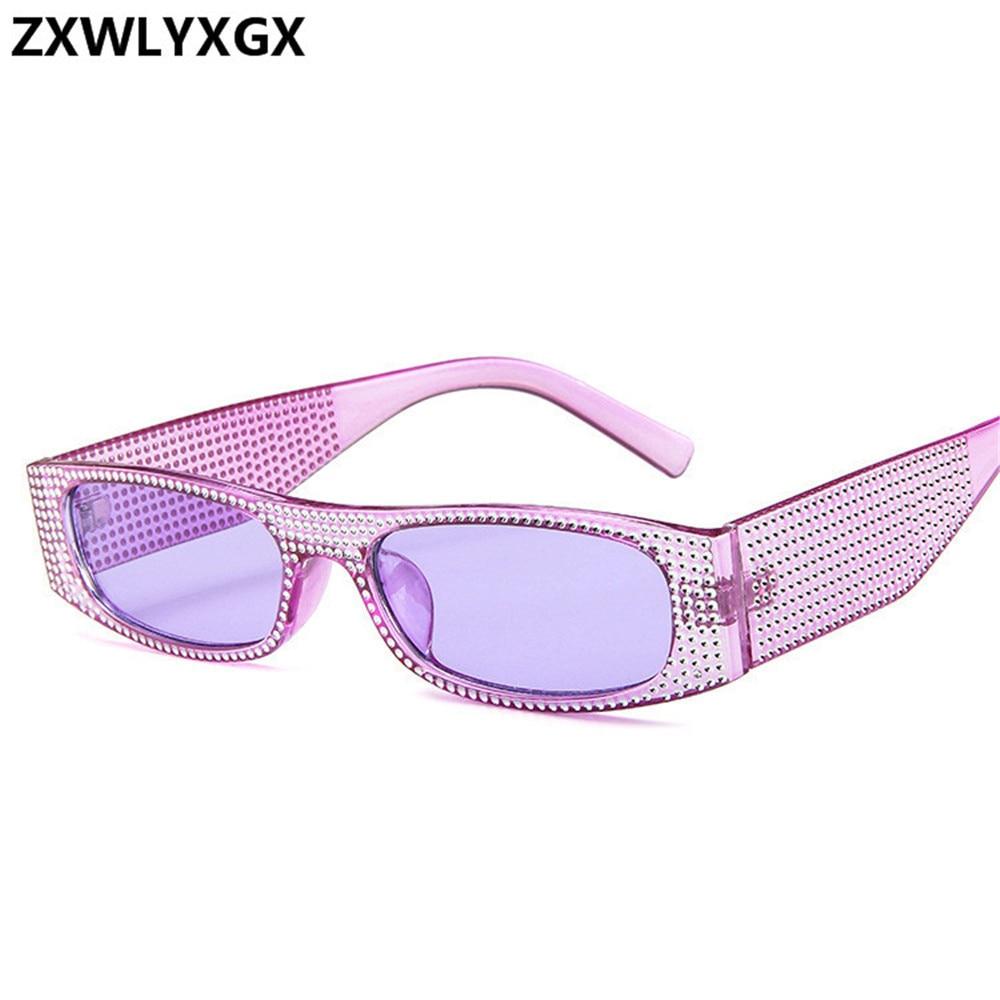 ZXWLYXGX  Small Square Sunglasses Women Imitation Diamond Sung Lasses Retro Evening Glasses Cross Fashion Sunglasses UV400