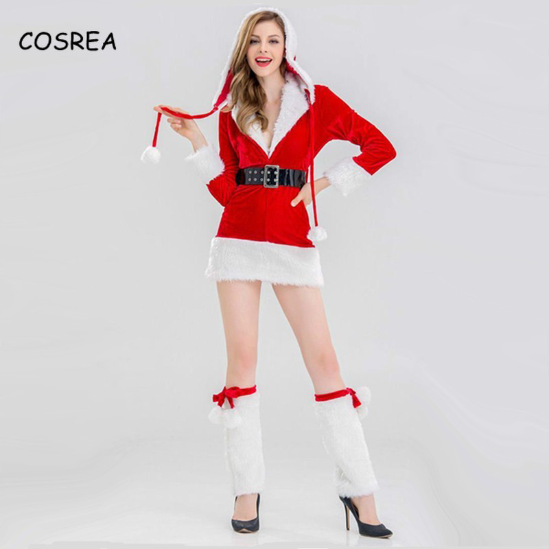 Christmas Santa Claus Cosplay Costumes Velvet Fur Long Sleeve Hooded Collars Skirt Dress Belt For Women Girls Halloween Party