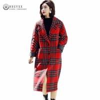 Plaid Padded Woolen Jacket Cashmere Overcoat Think Warm Winter Women Wool Blend Coat Long Warm Plus Size Outerwear 2018 Okd427