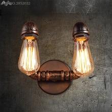 Lámpara de pared de tubo de agua Retro JW_Nordic 2 cabezas estilo Industrial Loft almacén Vintage Edison Luz de pared para accesorio de iluminación para el hogar