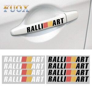 4 pçs ralli arte maçaneta da porta do carro adesivo decalque autosports ralliart para mitsubishi lancer asx outlander pajero galant acessórios