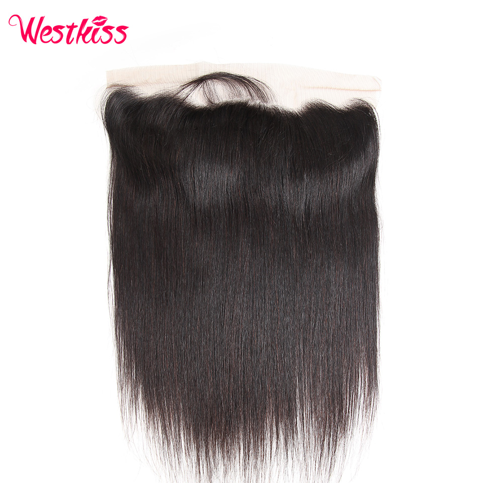 Frontal-Closure Lace Straight-Hair Pre-Plucked West-Kiss Brazilian 13x4 with Ear-To-Ear title=