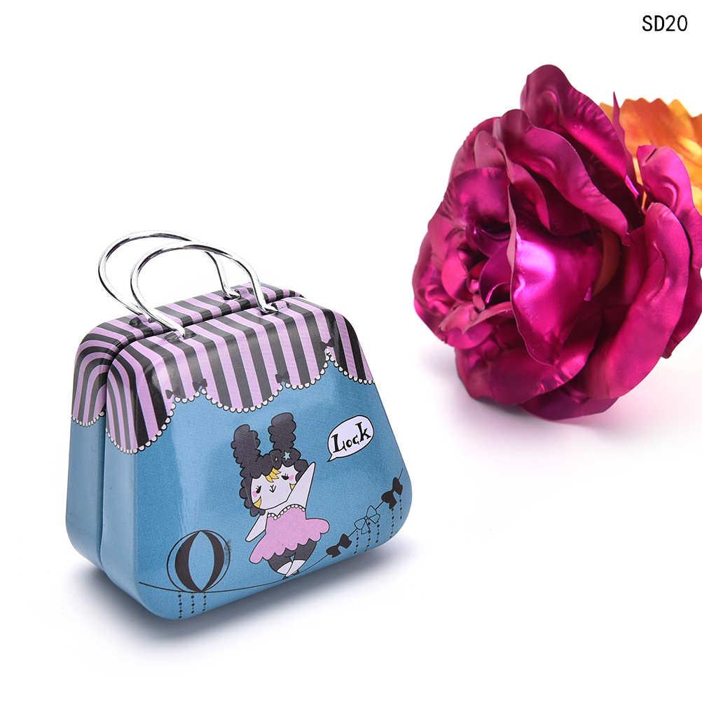 Маленькая жестяная коробка ретро чемодан Сумочка маленькая прямоугольная коробка конфет небольшой жестяной контейнер 54*33*45 мм