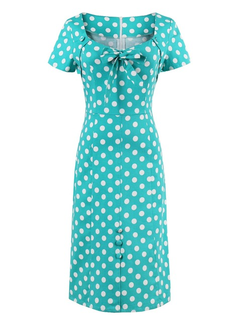 a18428a9e4 bodycon dress women vintage polka dots dresses bowknot straight office  short sleeve green retro zipper dresses