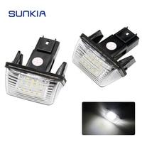 2Pcs Set SUNKIA 12V Car LED License Number Plate Lights Lamp 6000k White For Citroen C3