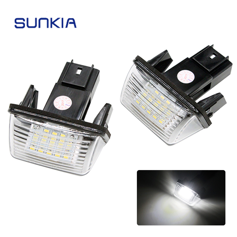 2Pcs/Set SUNKIA 12V Car LED License Number Plate Lights Lamp 6000k White for Citroen C3 C4 C5 Berlingo Saxo Xsara Picasso 2pcs set sunkia led number license plate lights pure white color for ford focus c max mk2 03 08 free shipping