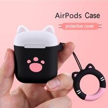 Bluetooth наушники Забавный силиконовый чехол для Apple Airpods Air pods аксессуары 3D чехол для животных TWS Защитная крышка Анти-потерянный Декор