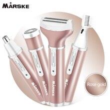 ¡Mejor venta! Depiladora 4 en 1 para mujer, Afeitadora eléctrica femenina recargable para Bikini, recortadora de vello Facial portátil, conjunto de afeitadora