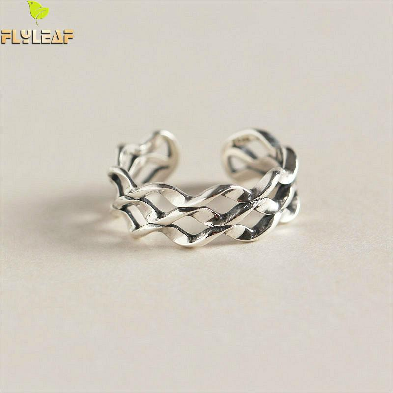 Flyleaf 925 Sterling Silver Rings For Women Retro Geometric Wavy Three Floors Smooth irregular geometric section