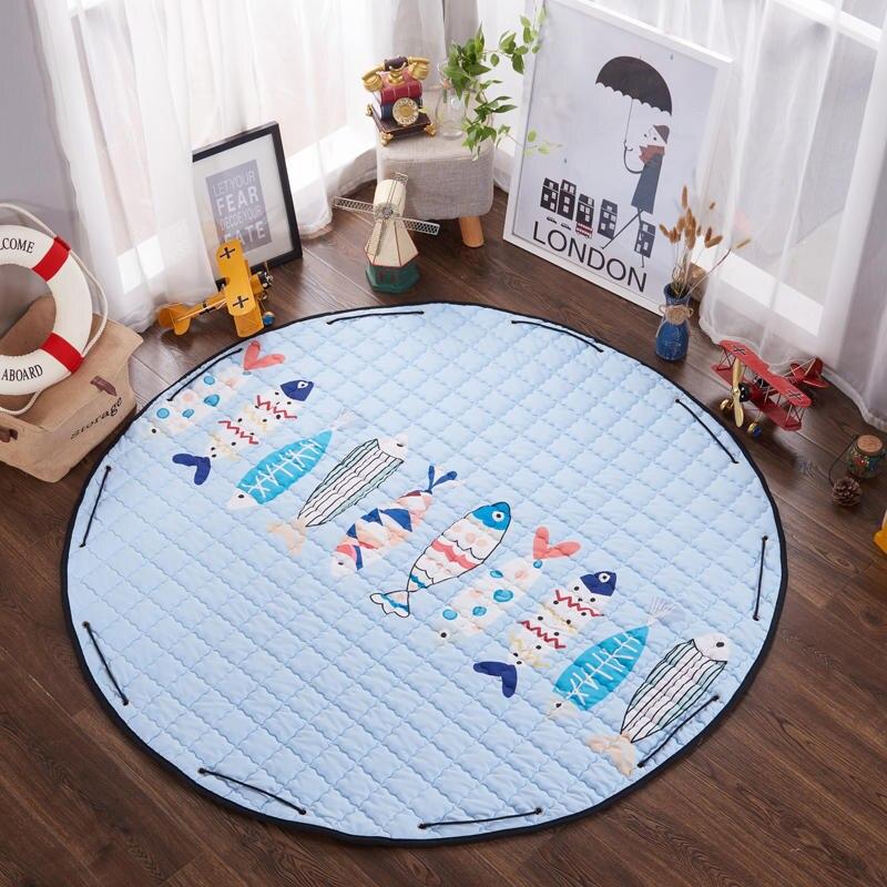 150 cm tapis ronds enfants tapis de bande dessinée tapis enfants tapis de jeu ramper tapis de Puzzle avec sac de rangement enfants jouets divers poche