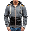 New Winter Men Sweatshirt Hoodies Patchwork Leather Men Cottom Warm Hoodies Homme Hip Hop Zipper Suit Slim Fit Outwear