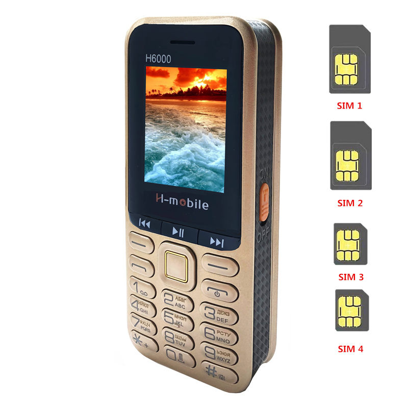 Real 4400mAh Powerbank Mobile Phone  4 Sim Card Bluetooth MP3 FM Radio Keyboard 1.8 Inch CellPhone H6000 Russian Language