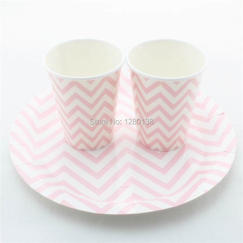 Disposable Paper Tableware Set Striped Paper Cups Square \u0026 Round Paper Plates Wedding Party Supplies Paper Napkins  sc 1 st  AliExpress.com & Free Shipping 48 Sets Chevron Striped Dot Party Paper Plates ...