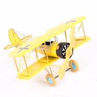 Large Glider Biplane Pendant Retro Second World War Airplane Model Toy Home Decor Vintage Metal Plane