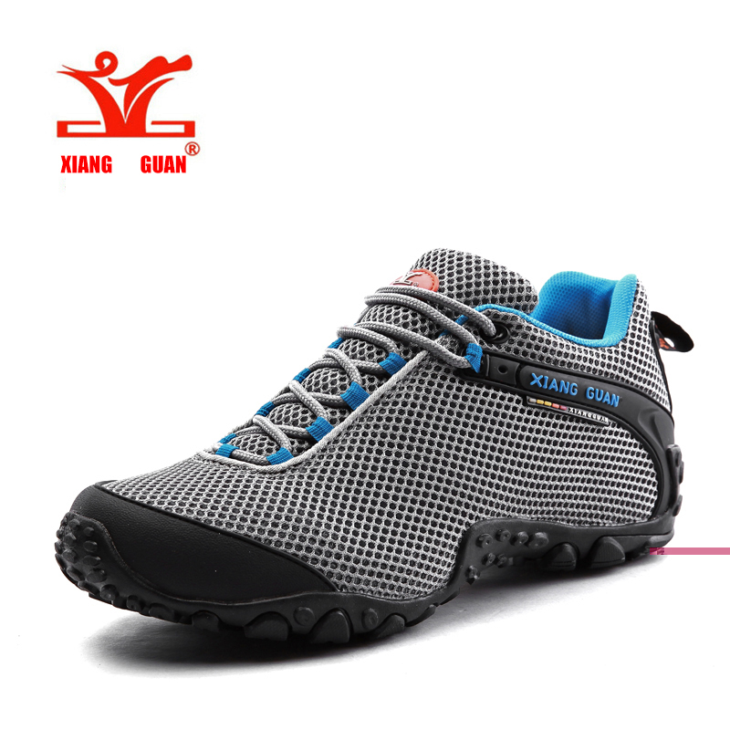 ФОТО XIANGGUAN Waterproof Hiking Mountain Shoes For Men Climbing Mesh Man's Trekking Sneakers Outdoor Walking tenis para caminhada