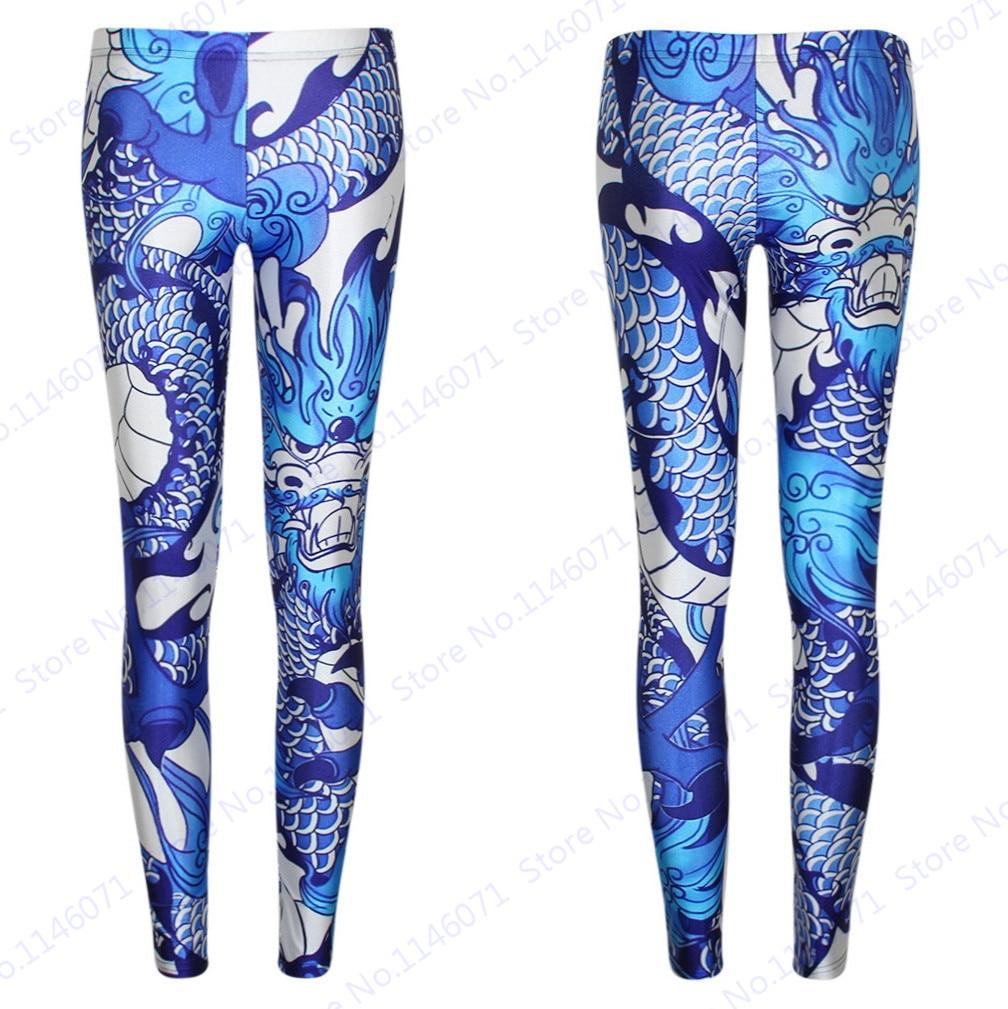 Red Leggings w// Chinese Dragon Print Yoga Capri Pants Dragon Capri Leggings