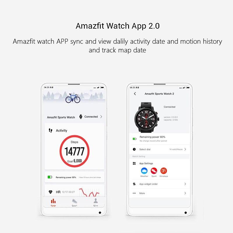 Huami Amazfit Stratos 2 Smartwatch Appel Rappel Bluetooth Musique GPS Support11 Sport Modes 5ATM Étanche Longue Attente Batterie - 5