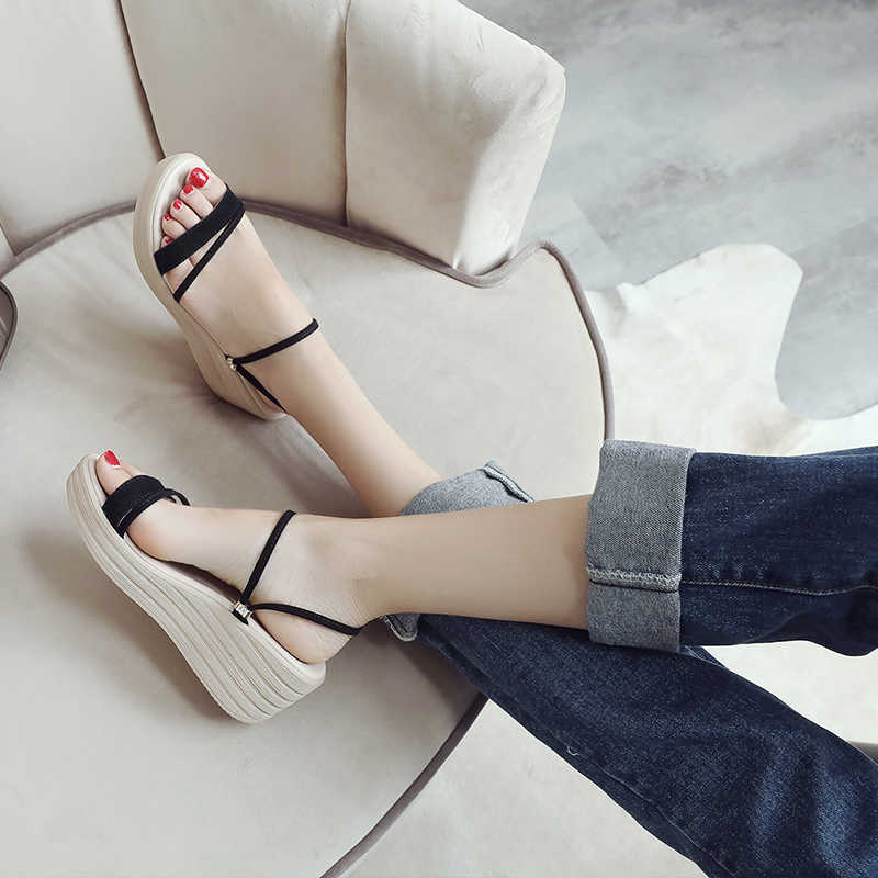 Plardin 2019 Zomer vrouwen flats platform slippers slides Schoenen slip op wit leer flip flop platte wedge Bech sandalen