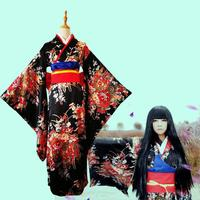 japanese Cosplay Costume Print Floral Geisha Robes Novelty Evening Dress Fashion National Trends Women Sexy Kimono Yukata Dress