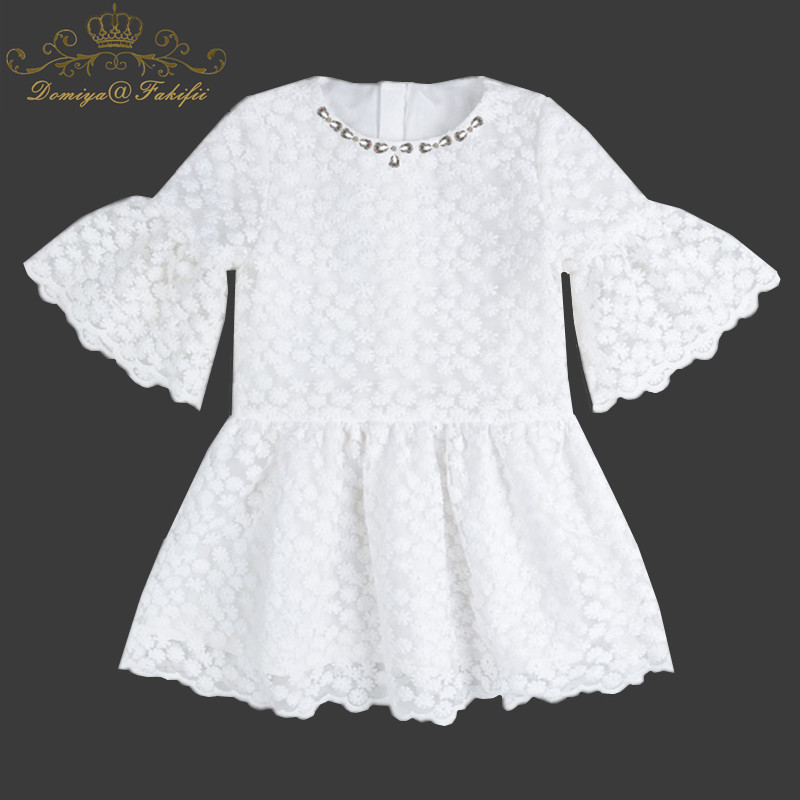 2018 Princess Summer Little Girl Casual Crystal White 3 Year Baby Girl Birthday Party Dresses Girl Lace Dress For Baby Kids uoipae girl party dress 2018 casual