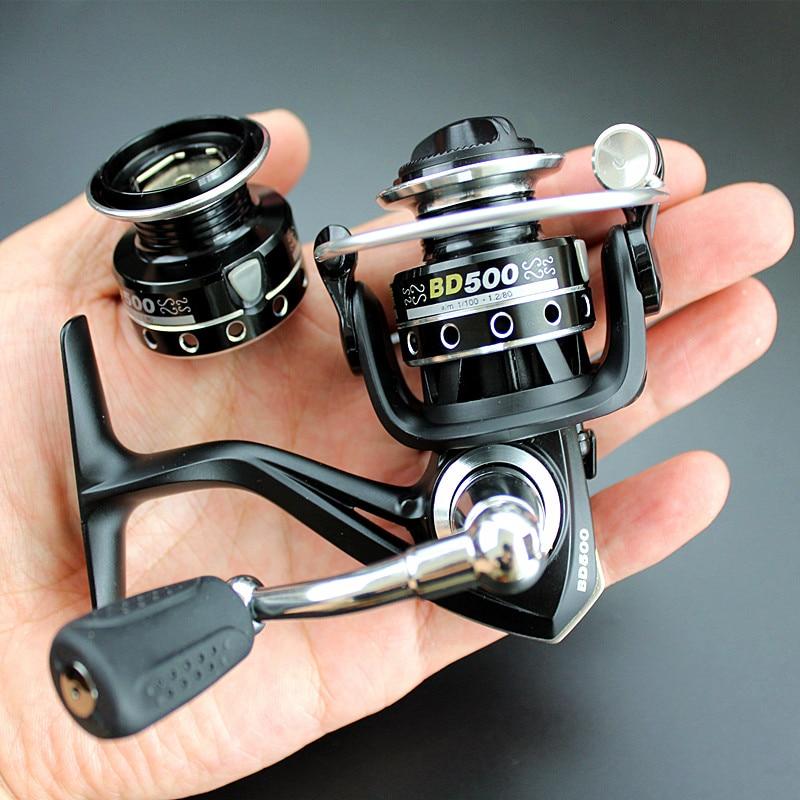 double reels mini trout fishing spinning reel Salmo playtcephalus stainless aluminum spool baitcasting ratio 5.2:1 bearing 7+1BB
