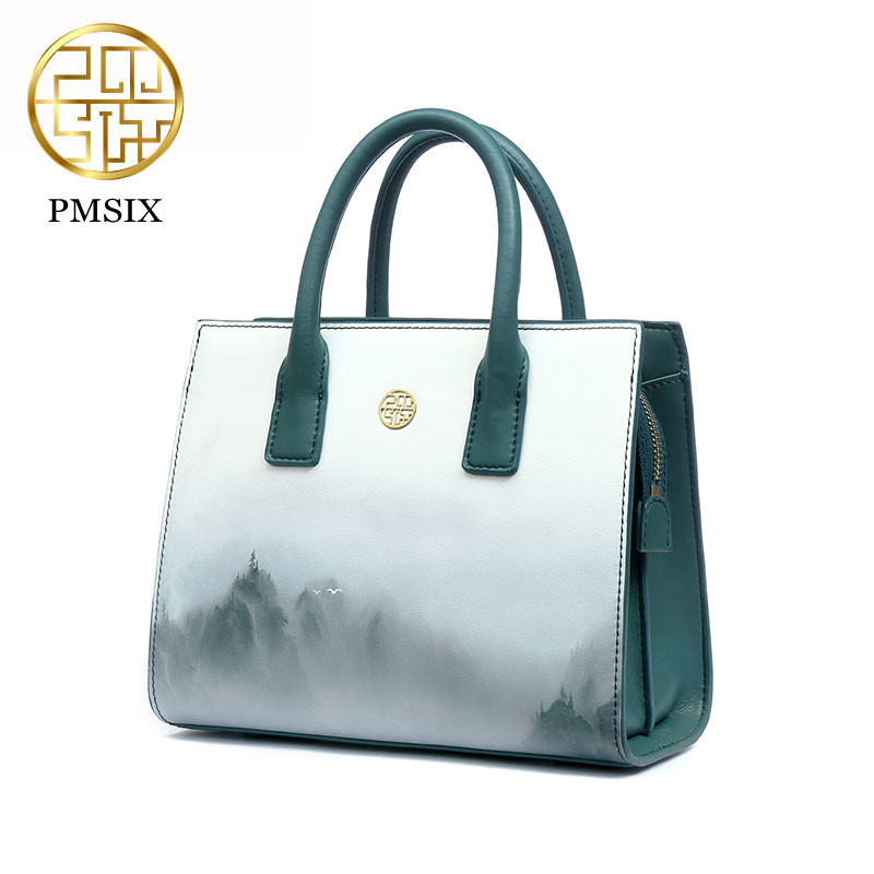 Pmsix 2018 Spring Summer Chinese Wind Printing Design Split Leather Shoulder Bag Luxury Handbags Women Bags Designer P220050