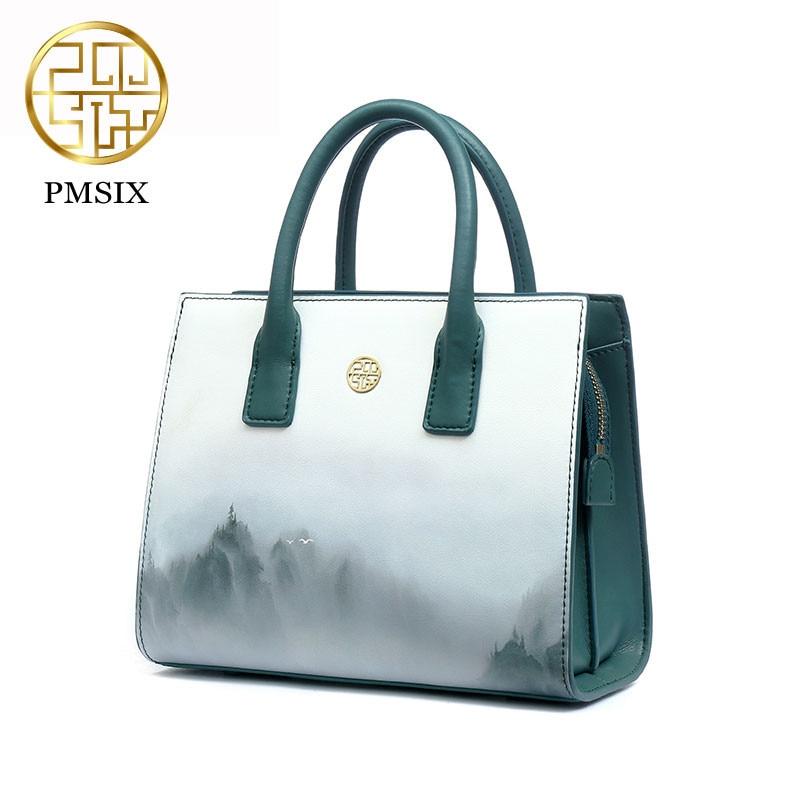 Pmsix 2019 Frühling Sommer Chinesischen Wind Druck Design Split Leder Schulter Tasche Luxus Handtaschen Frauen Taschen Designer P220050-in Taschen mit Griff oben aus Gepäck & Taschen bei  Gruppe 1