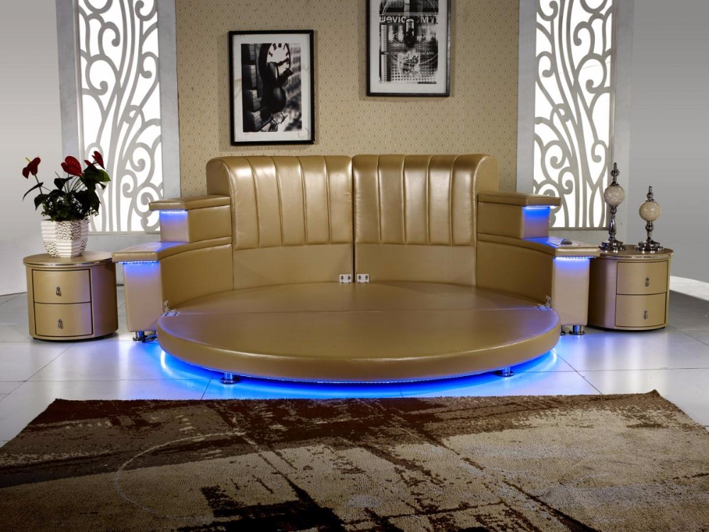 2017 Genuine Leather Top Fashion No Genuine Leather King Bedroom Furniture Hot Sale Modern With Led , Speaker, Round Soft Bed ...