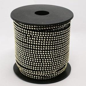 "Image 1 - כבל קוריאה פו זמש משובץ 2Row אלומיניום זהב ממצאי תכשיטי 5x2 מ""מ על 20 מטר/גליל"