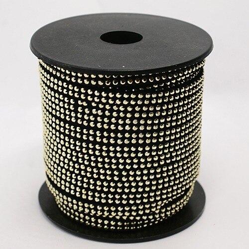 """כבל קוריאה פו זמש משובץ 2Row אלומיניום זהב ממצאי תכשיטי 5x2 מ""""מ על 20 מטר/גליל"""