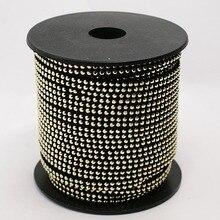 2Row Golden Aluminium Studded Korea Faux Suede 5x2mm Sieraden Bevindingen ongeveer 20 meter/rol