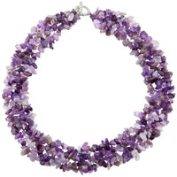 SUNYIK Purple Crystal Quartz Chips Stone Bib Necklace Chain Collar Choker 17 5 Inches
