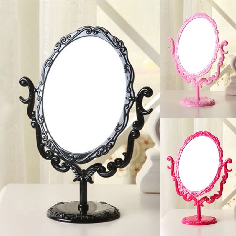 Makeup Mirror Desktop Rotatable Small Size Rose Stand Mirror Beauty Tool For Women Lady Makeup Tool H7JP