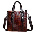 2016 Luxury Fashion Weave Men's Business & Party Briefcase Shoulder Bag Genuine Leather Messenger Bag Portfolio Men Bolsa CH060