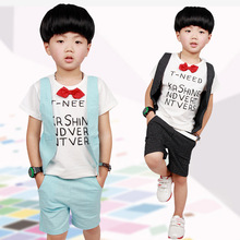 children clothing 2017 new boy Short sleeve T-shirt + shorts Summer Fashion sports Lovely kids clothes for 5 6 8 10 12 years