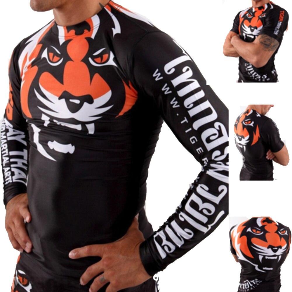 Rashguard Muay Thai MMA Boxing Jerseys Sublimated Print Gentle Tiger Pants Boxeo MMA BJJ JiuJitsu Training Rash Guard T-Shirt