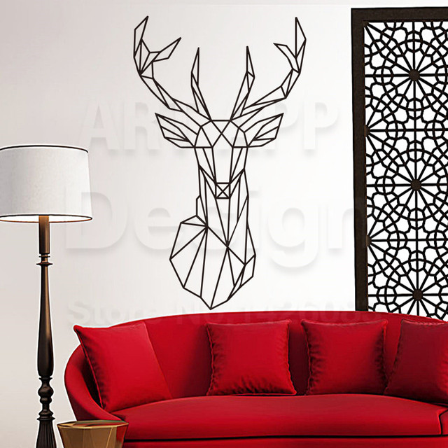 Art Design Home Decoration Cheap Vinyl Simple Line Drawing Deer Wall Sticker House Decor Colorful