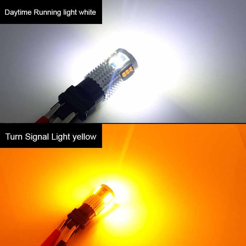 2 шт. Canbus Белый/янтарный высокой мощности 3157 горки 12 В 3155 T25 светодиодный лампы для дневных ходовых/поворотных сигналов