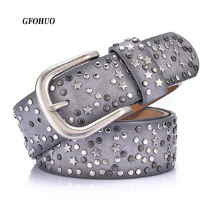 Image 1 - New Fashion womens Rivet belts Punk rock style belt For lady PU + Genuine leather Sequins Metal buckle Wide Metal rivet bead