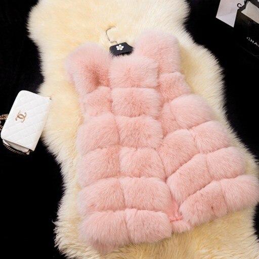 2018 nouveau femmes hiver sans manches en fausse fourrure de renard en cuir épais manteau survêtement gilet rembourré veste pardessus Parka W025