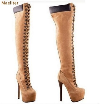 Classic Camel Color Long Boots Over-the-knee Lace-up Dress Boots Thin High Heels Platform Patchwork Boots Rivets Punk Style Shoe