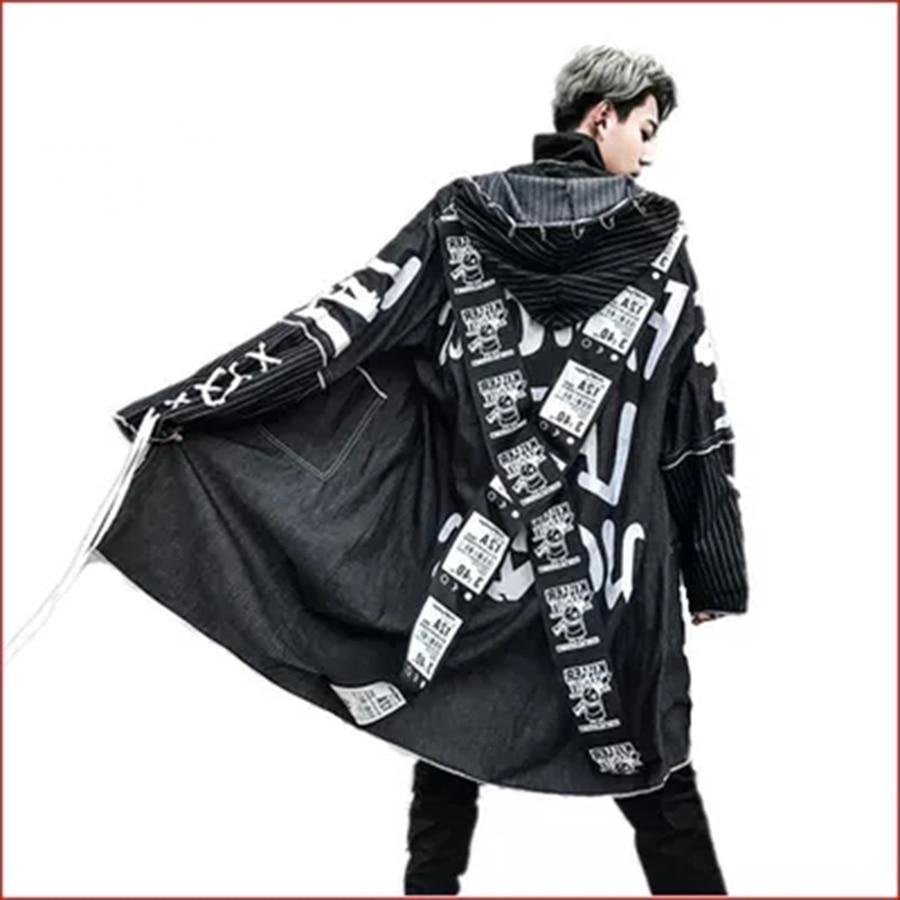 Denim   Trench   Coat Mens Hooded Vintage Rock Punk Jackets Long High Street Printing Hip Hop Overcoat Korean Fashion Clothing Male