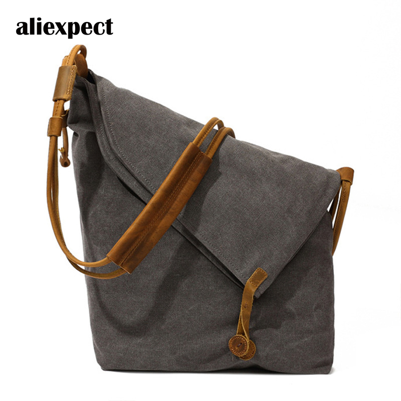 New Men's Bag To Do The Old Oil Wax Canvas Bag Art Retro Men and Women Shoulder Bag Messenger Bag Mail Package Tide new tide package suede women bohemian wind retro backpack pu chain men and women lovers tassel bag