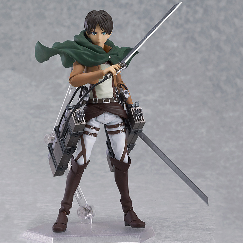 14cm Anime Attack on Titan Figure Shingeki no Kyojin Eren Jaeger Figma PVC Action Figure Collectible Model Toy Christmas Gifts 14cm super sonico supersonico movable figma figma ex 023 pvc action figure collectible model toy children toy gift with box