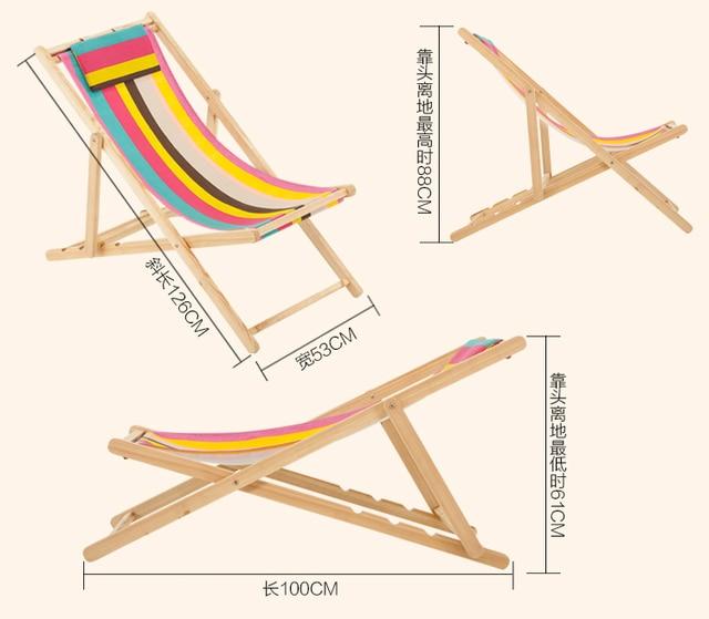 Folding Solid Wood Beach Deck Chair Outdoor Portable Sun Loungers