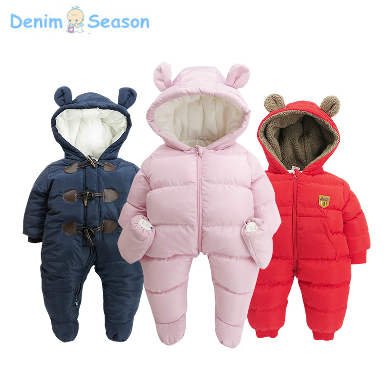 Denim Season 0-24m Newborn Baby Clothes Cotton Thicken Warm Fantasia Baby Romper Cute Jumpsuit Baby Boy Christmas Winter Rompers warm thicken baby rompers long sleeve organic cotton autumn