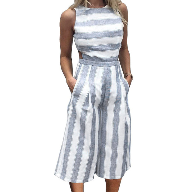 f5ecdb70c16 Summer Striped Jumpsuit Wide Legs Women Sleeveless Backless Office Ladies  Cotton Linen Long Pants Jumpsuits Overalls For Women