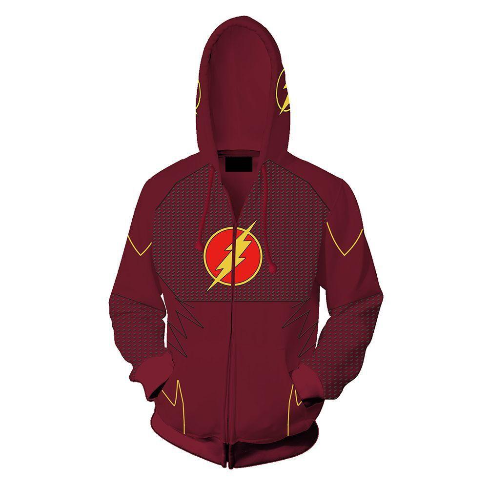 2018 Autumn Winter 3D Print Flash Sweatshirts Hoodies Fashion Avengers Cosplay Casual Zipper Hooded Jacket Clothing